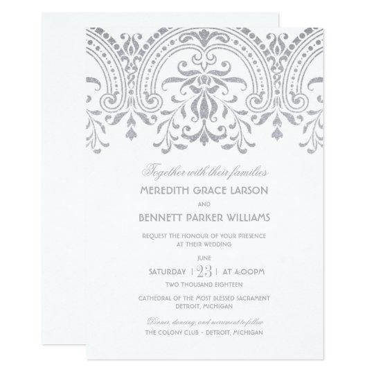 Vintage Glam Wedding Invitations: Silver Vintage Glamour