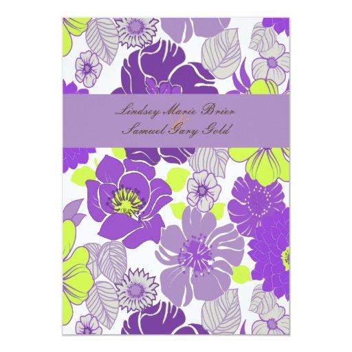 "Wedding Invitations ~ summer florals purpl poppies 5"" X 7"" Invitation Card"