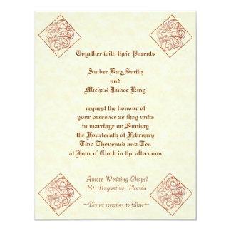 Wedding invitations two side print diamond corners