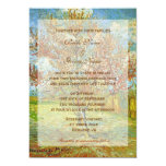 "Wedding invitations. Vintage floral pink peach tre 5"" X 7"" Invitation Card"