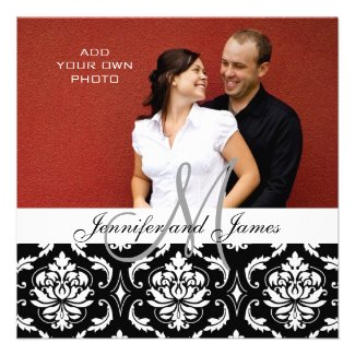 Wedding Invitations with Engagement Photo Damask
