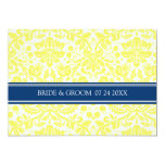 "Wedding Invitations Yellow Blue Damask Pattern 5"" X 7"" Invitation Card"