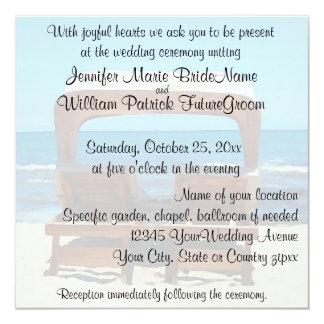 Wedding Invite Beach Chairs in Sand