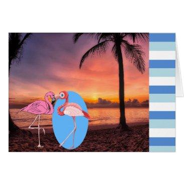 Wedding Invite Beach Flamingo Palm Romantic