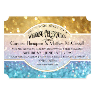 wedding invite bokeh movie ticket style gold pink - Movie Ticket Wedding Invitations