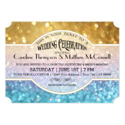 Wedding Invite Bokeh Movie Ticket Style Gold Pink 5