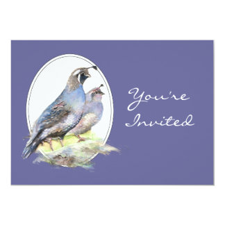 Wedding Invite Custom California Quail Birds