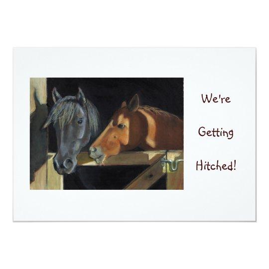 WEDDING INVITE: HORSES, Western: PASTEL Card