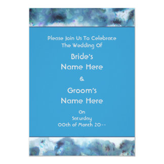 """Wedding Invite in Teal and Blue. 5"""" X 7"""" Invitation Card"""