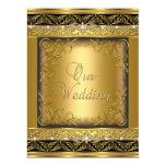Wedding Invite Metallic Gold Black Diamond Announcement