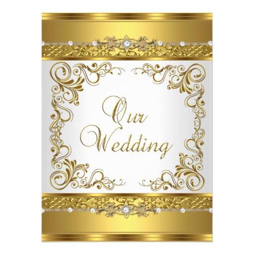 Wedding Invite Metallic Gold White Diamond Personalized Announcements