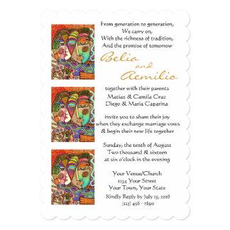 Wedding Invite Mexican Couple inGarden (scalloped)