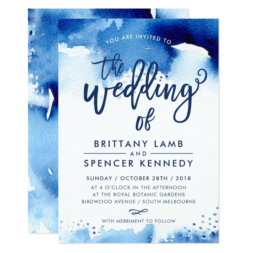 WEDDING INVITE modern stylish navy blue watercolor