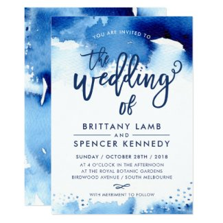 Royal Blue and White Wedding Invitations Watercolor