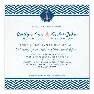 WEDDING INVITE nautical anchor heart navy coral