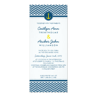 WEDDING INVITE nautical anchor heart navy yellow