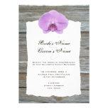 Wedding Invite Purple Orchid & Barnwood