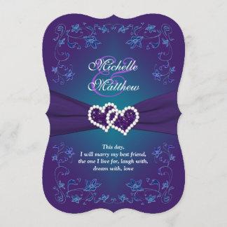 Wedding Invite | Purple, Teal, Floral, Hearts