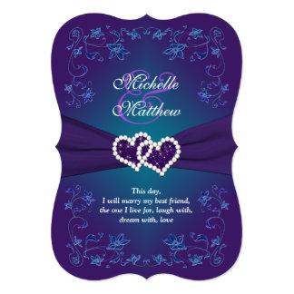 Wedding Invite   Purple, Teal, Floral, Hearts