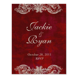 Wedding Invite RSVP Reply Card Antique Roses red