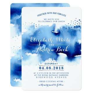 WEDDING INVITE stylish chic watercolor beach blue