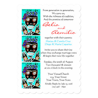 Wedding Invite Turquoise Queen Sugar Skull Angel