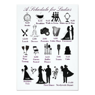 Wedding Itenerary Schedule for Bridesmaids 5x7 Paper Invitation Card