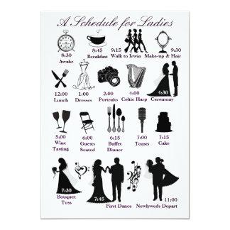 Wedding Itenerary Schedule for Bridesmaids 5x7 Paper Invitation Card