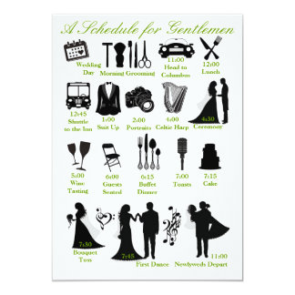 Wedding Itenerary Schedule for Groomsmen 5x7 Paper Invitation Card