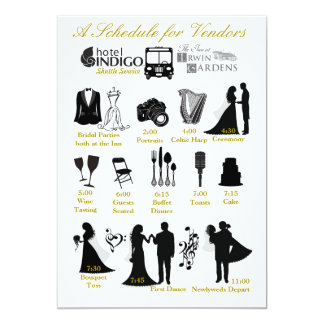Wedding Itenerary Schedule for Vendors Card