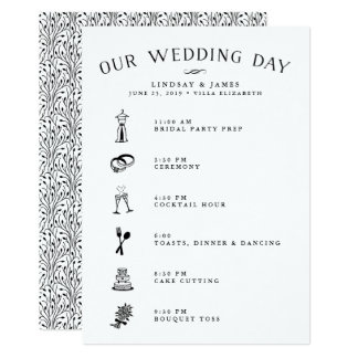 Wedding itinerary invitations announcements zazzle wedding itinerary card for bridal party amp vendors junglespirit Images