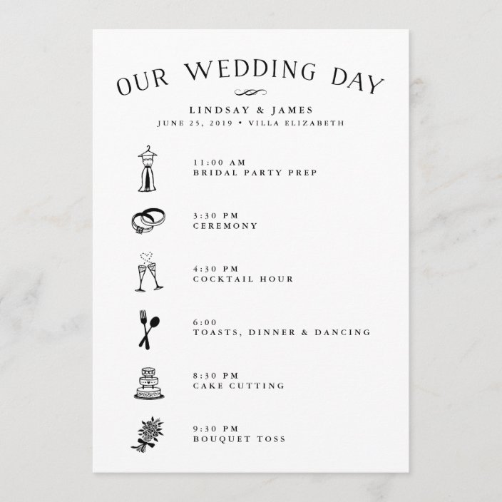 Wedding Itinerary Card For Bridal Party