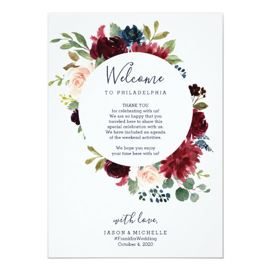 wedding itinerary hotel welcome letter burgundy invitation