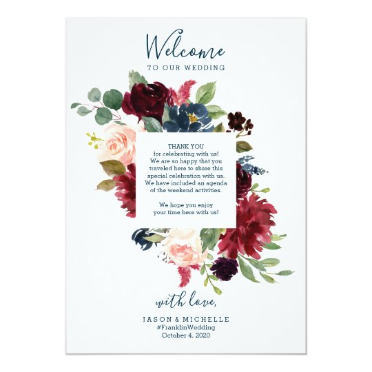 Wedding Itinerary Hotel Welcome Letter - Burgundy Invitation
