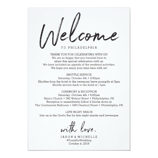 Wedding itinerary hotel welcome letter invitation zazzle wedding itinerary hotel welcome letter invitation spiritdancerdesigns Choice Image
