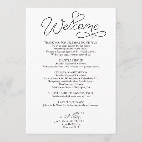 Wedding Itinerary Wedding Welcome Letter Beloved Program Zazzle Com