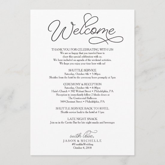 Wedding Itinerary - Wedding Welcome Letter Beloved Program