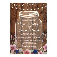Wedding Jar Wood Rustic Floral Firefly Invitation