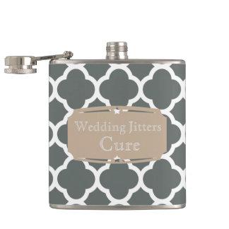 Wedding Jitters Cure Quatrefoil pattern Hip Flask