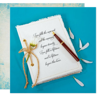 wedding journal with daisy and pen card