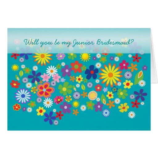 Wedding. Junior Bridesmaid. Colourful flower bed. Greeting Cards