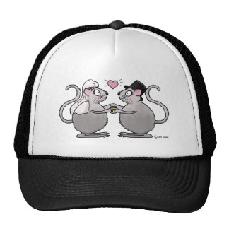 Wedding Just Married Anniversary Mice Mouse Couple Trucker Hat