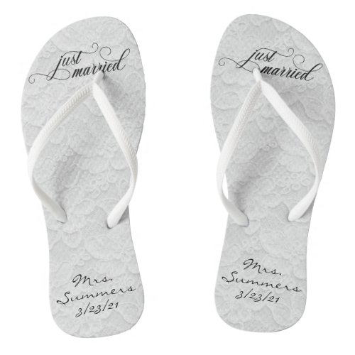 Wedding Just Married White Lace Personalized Bride Flip Flops