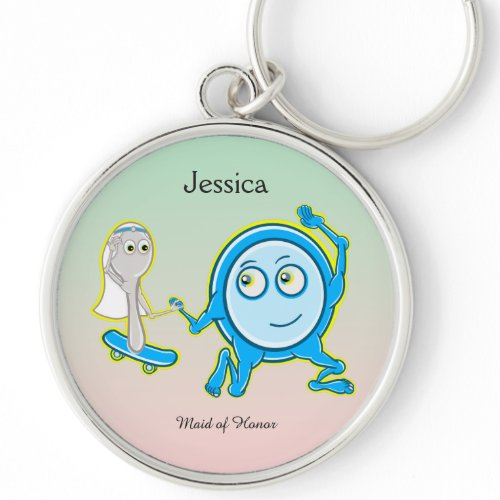 Wedding Keepsake Dish Ran Away With The Spoon Silver-Colored Round Keychain