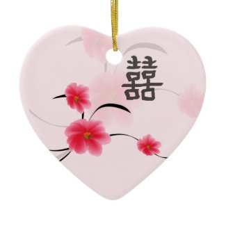 Wedding Keepsake Pink Blossom Double Happiness ornament