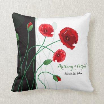 Wedding Keepsake Throw Pillow | Red Poppies