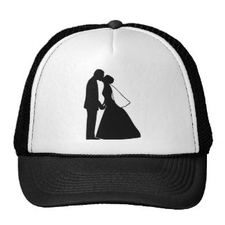 Wedding kiss bride and groom silhouette mesh hats