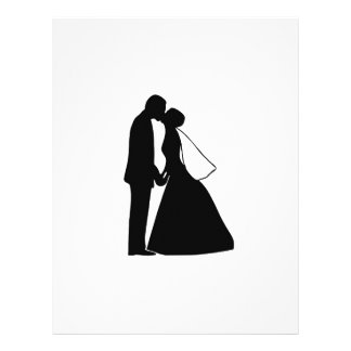 Wedding kiss bride and groom silhouette letterhead