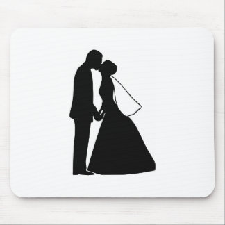 Wedding kiss bride and groom silhouette mouse pad