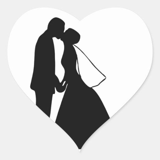 Wedding kiss bride and groom silhouette heart sticker zazzle